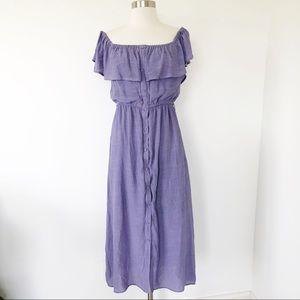Kori America Lavender Midi Dress Off Shoulder